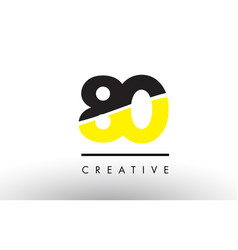 80 black and yellow number logo design vector