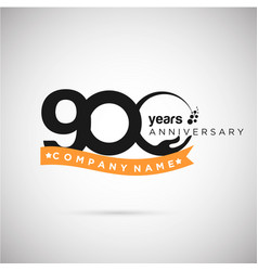 900 years anniversary logo with ribbon and hand vector image