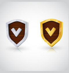 accept gold shield vector image