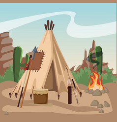 Amerinca indian village vector