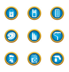 applied art icons set flat style vector image