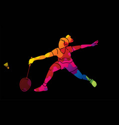 Badminton female player action graphic vector