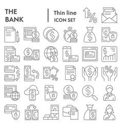bank thin line icon set finance symbols vector image