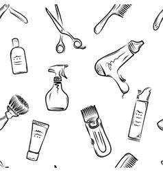 Barbershop doodle pattern vector