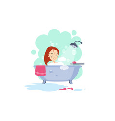 Bathing daily routine activities of women vector