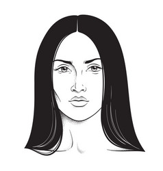 beautiful brunette woman portrait line art vector image