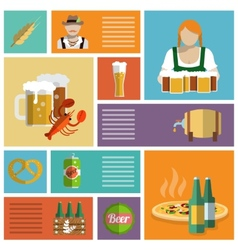 Beer icons set flat vector image