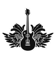Black and white banner with guitar and wings vector