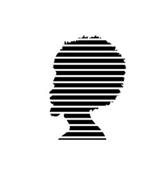 Black man portrait with afro curly design strips vector