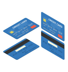 blue credit cards isometric vector image
