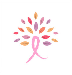Breast cancer awareness pink ribbon tree concept vector