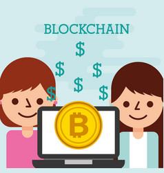 business woman and client lapotp bitcoin vector image