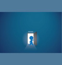 Businessman open the door to find success vector