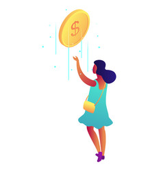businesswoman catching falling dollar coin vector image