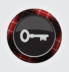 Button with red black tartan - key icon vector