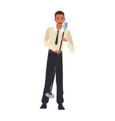 Cartoon singer man flat design vector