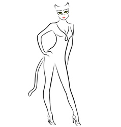 Cat Woman black contour with mask vector image
