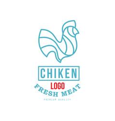 chicken logo fresh meat premium quality badge vector image