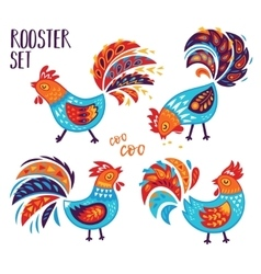 Chinese zodiac set 2017 - rooster new year vector