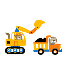 Construction equipment cartoon work zone vector