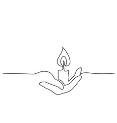 continuous one line drawing hand holding burning vector image