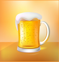 Cool craft beer with foam in glass mug 3d vector