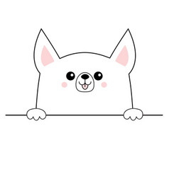 Corgi dog happy face head icon hands paw holding vector