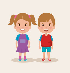 couple of little kids characters vector image