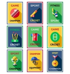 Cricket Color Labels Poster Set vector