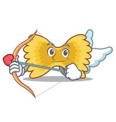 Cupid farfalle pasta character cartoon vector