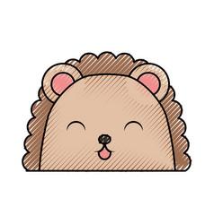 Cute scribble armadillo face cartoon vector