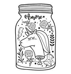 dead unicorn head in the jar for vector image