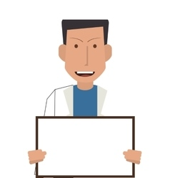 doctor or medic with small whiteboard icon vector image