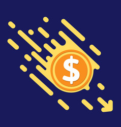 dollar symbol in flat design for internet money vector image