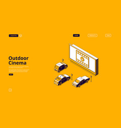 drive-in movie theater with cars outdoor cinema vector image