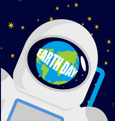Earth day helmet astronaut and planet reflected vector