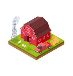 farm buildings isometric truck livestock windmill vector image
