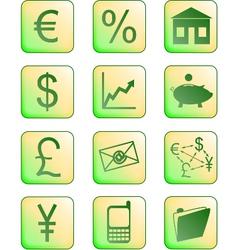Financial icons green vector