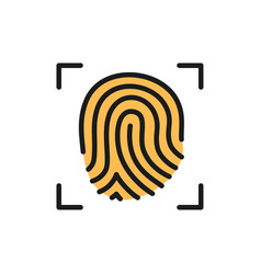 fingerprint verification flat color icon isolated vector image