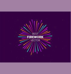 firework show on violet night sky background with vector image