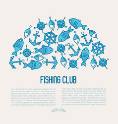 fishing club concept in half circle vector image