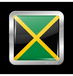 Flag of Jamaica Metal Icon Square Shape vector