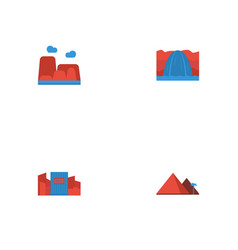 Flat icons great pyramid waterfall drought and vector