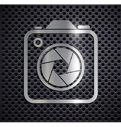 Flat metallic logo camera vector image