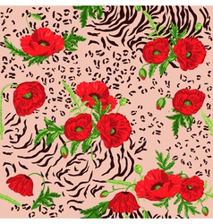 Floral seamless pattern - poppy and animal skin vector
