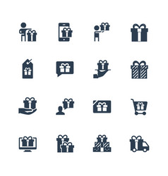 gifts presents icon set vector image