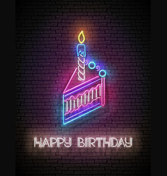 glow greeting card with piece cake candle and vector image