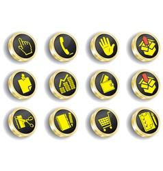 golden web icon set vector image