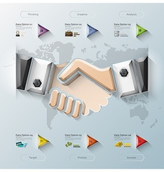 Hand Shake Three Dimension Polygon Business vector image