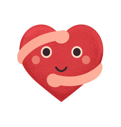 happy smiling heart with hugging hands vector image